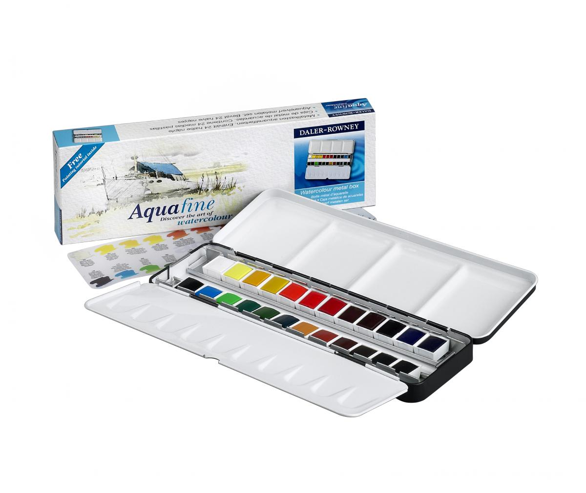 Akvarelove Barvy Daler Rowney Aquafine Metal Box Set 24 Ks Kovova
